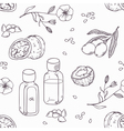 Healing oils outline seamless pattern Healthy vector image vector image