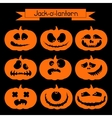 jack-o-lantern set 9 decorative elements vector image vector image