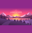 landscape with silhouettes mountains and vector image