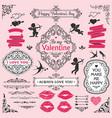 love vintage decorative design elements set vector image vector image