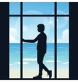 man boys silhouette alone looking to the sea open vector image