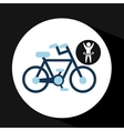 Man hand up silhouette with bycicle icon design