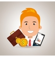 man with portfolio and coins isolated icon design vector image vector image