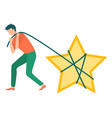 man with star business success reputation vector image