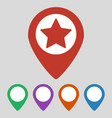 map pointer with star icon on grey background vector image