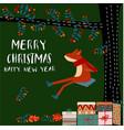 merry christmas happy fox animal cartoon doodle vector image