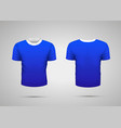 mockup of blank blue realistic sport t-shirt with vector image vector image