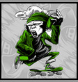 monkey handling spray paint and skateboard vector image vector image