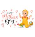 mother s day greeting card with relistic cartoon vector image vector image