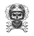 motorcyclist skull wearing helmet and goggles vector image vector image