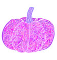 neon doodle of pumpkin with a boho pattern vector image vector image