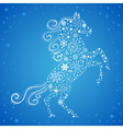 new year card horse made snowflakes vector image vector image