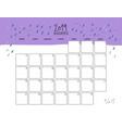 november 2019 wall calendar doodle style vector image