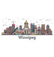 outline winnipeg canada city skyline with color vector image vector image