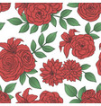 pattern with red lily rose peony flowers vector image vector image