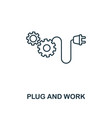plug and work icon thin line style industry 40 vector image vector image