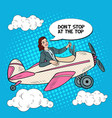 pop art successful woman riding vintage airplane vector image vector image