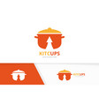 pot and arrow up logo combination kitchen vector image vector image