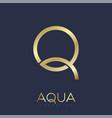 q aqua logo jewelry shop clothes swimming gold vector image vector image