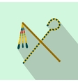Rod and whip of Pharaoh icon flat style vector image vector image