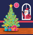 santa claus in window and tree plant christmas vector image vector image