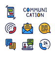 set communication simple outline color icon on vector image vector image