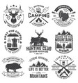 set hunting club and outdoor adventure quotes vector image vector image