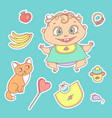 set of color sketch stickers vector image vector image