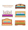 set of colorful beds with pillows and blankets vector image vector image