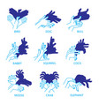 shadow hand puppets isolated on a white background vector image vector image