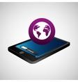 smartphone blue screen unlock globe global vector image