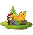 tiger on tree log vector image