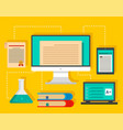 type of learning background flat style vector image