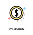 valuation icon with coin on white background vector image