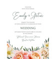 wedding floral invite invitation card vector image