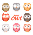 colorful owl cartoon set vector image