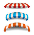 a set of striped red blue orange white awnings vector image vector image
