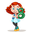 American girl holding number eight vector image vector image