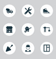 architecture icons set with tower crane vector image