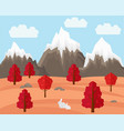 autumn landscape with rabbit in flat style vector image