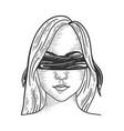 blindfolded girl sketch vector image vector image