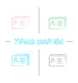 business card template hand drawn icons set vector image vector image