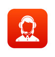 business woman with headset icon digital red vector image vector image