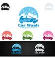 car wash logo with car silhouette and water vector image