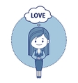 Character girl think about love vector image