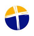 crucifix cross brush circle symbol design vector image