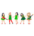 cute little girls group isolated vector image