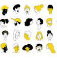 decorative diverse women men head seamless pattern vector image vector image