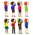 Faceless kids writing vector image vector image