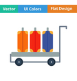 Flat design icon of luggage cart vector image vector image
